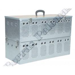 Cesta-transportin doble 2 x 6 comp. en aluminio