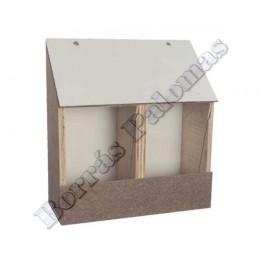 Comedero de madera 2 compartimentos